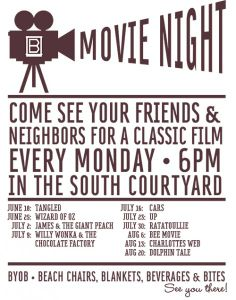 For the upcoming backyard movie night