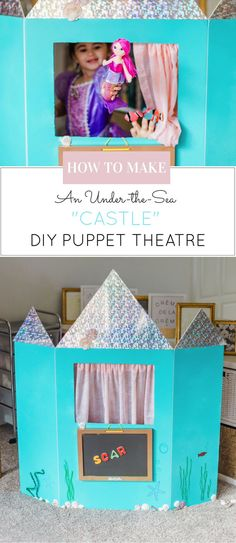 How to make a DIY Puppet Theatre with a trifold foam poster board. (Learning Colors, Numbers, and Letters too ... in an under-the-sea CASTLE!) | DIY fun for kids | kids activities | at-home play for kids | imaginative play for kids | fun activities for ki