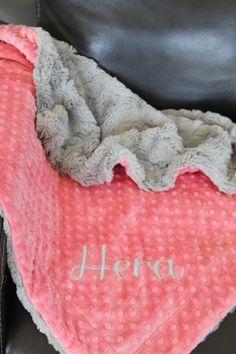 Personalised Dimple  Fleece Baby Blanket Rose Gold Thread Luxury Black Minky