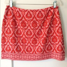 """Beaded miniskirt The Indian-inspired print on this cotton miniskirt is covered with clear beading details.  The 2 shades of coral look amazing with bare legs.  Wear casually with a plain white tee or dress it up with a silk cami.  Length is 15.5"""" and it's fully lined. Skirts Mini"""