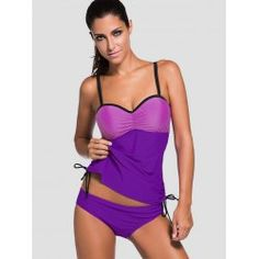 89f8143623bd7 Bandeau Color Block Underwire Tankini Set - PURPLE M Bandeau Swim Tops, Tankini  Swimsuits For