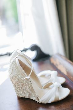 With pretty wedges like this, you won't have to decide between gorgeous details and achy feet. Photo by Amy & Stuart Photography via Style Me Pretty