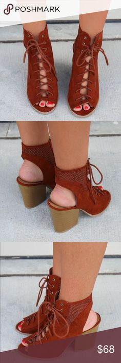 Whiskey Wine Lace Up Sandal Booties Heel height is 3.5 inches Lace up front Chunky heel Open toe Boutique Shoes Sandals
