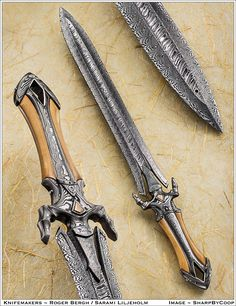 Beautiful (possible Damascus steel) sword Unique Knives, Cool Knives, Swords And Daggers, Knives And Swords, Katana, Beil, Medieval Weapons, Arm Armor, Handmade Knives