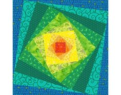 Twisted squares paper pieced block. This is called Mind's Eye. Looks very nice in tones of rose and red to resemble a rose. The outer layers of the block are contrast colors to frame the rose.