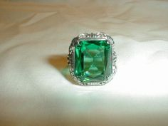 edwardian sterling silver emerald green by qualityvintagejewels, $95.00