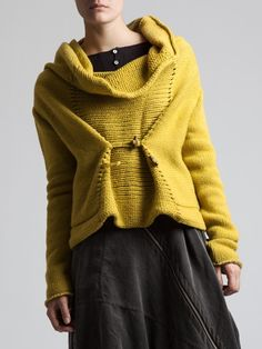 gorgeous knithacked sweater by Syngman Cucala  the cowel is a little funky, but I love it otherwise :D