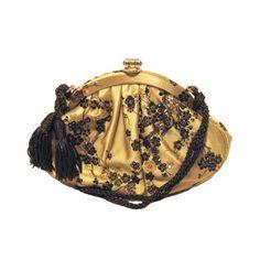 Judith Leiber Gold Silk and Swaovski Evening Bag