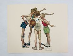 Vintage 1970's Norman Rockwell Oh Yeah! Sporting Boys Basketball Print MINT