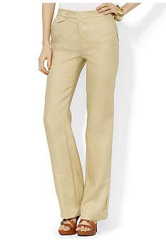 LAUREN by RALPH LAUREN | Wide-Leg Linen Pant, Kensington Tan.