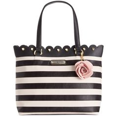 Betsey Johnson Scalloped Tote ($88) ❤ liked on Polyvore featuring bags, handbags, tote bags, stripe, tote purses, handbag tote, faux leather tote, man bag and vegan leather tote