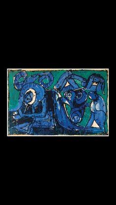 """Pierre Alechinsky - """" Le Bleu des Fonds """", 1968 - Acrylic on paper laid on canvas -100,33 x 152,4 cm"""