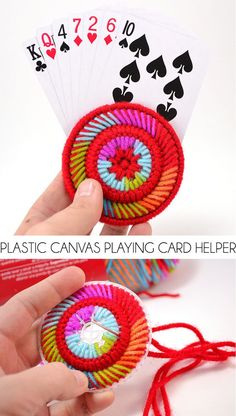 Have trouble holding cards? These plastic canvas playing card helpers are fun to make, cute to look at and keep your hands from cramping while playing gin!