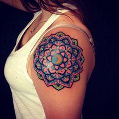 Mandala Tattoo Design, Colorful Mandala Tattoo, Mandala Flower Tattoos, Design Tattoo, Flower Mandala, Best Tattoos For Women, Tattoo Designs For Women, Trendy Tattoos, New Tattoos