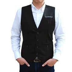 ベスト メンズ ビジネス スーツ ハンガーチップ きれいめ スリムフィット お兄系 バーテンダー バックル付 ボタン ジレ 男性用 (BLACK/L)