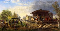 Edward Lamson Henry, Station on the Morris and Essex Railroad, Private collection Fabulous Railway Station Paintings from the Golden Age of Train Travel Painting Edges, Spray Painting, A4 Poster, Poster Prints, Gustave Courbet, Pierre Auguste Renoir, Green Landscape, Colorful Paintings, Vintage Artwork