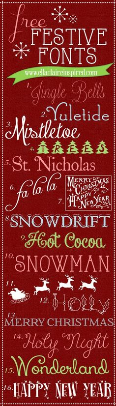 Free Festive Fonts to download and use for your holiday projects!