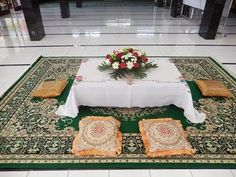 Akad Nikah Table In Mosque Nikah Ceremony, Indoor Wedding Ceremonies, Ceremony Backdrop, Backdrop Wedding, Pelamin Simple, Wedding Table Layouts, Wedding Decorations On A Budget, Decor Wedding, Wedding Gift Baskets