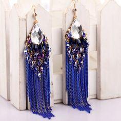 Blue Fringe Bohemian Earrings