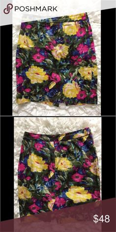 J. Crew Floral Pencil Skirt J. Crew Floral Pencil Skirt.  Love these bright colors and floral print!  Feminine and adorable for this season!  98% cotton and 2% spandex: J. Crew Skirts Midi