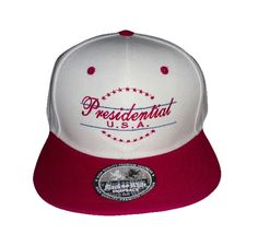 Presidential USA Snapback Presidential  U.S.A. - Snapback  Red/White  hat with Red lettering 100% cotton Price: $24.99