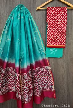 Price Rs 1600 + Shipping extra Hand block Printed chanderi silk dress materials Top and dupattas chanderi silk (2.50×2 mtrs) Bottom cotton (2.50 meters) Chanderi Silk Saree, Silk Sarees, Ethinic Wear, Silk Suit, Issa, Suits, Blouse, Dresses, Vestidos