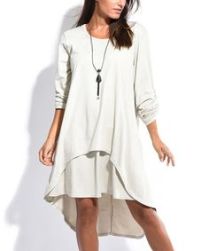 Look at this #zulilyfind! Beige Hi-Low Dress #zulilyfinds