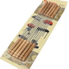 BBQ Skewers Stainless Steel 12 Kebab Grill Sticks Home Patio Camping Picnic Yard