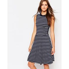 Just Female Medieval Blue Stripe Jazzi Dress ($48) ❤ liked on Polyvore featuring dresses, blue, blue stripe dress, striped dress, white striped dress, blue day dress and stripe dress