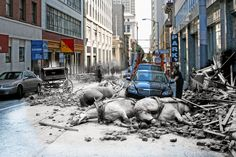 Photographer Shawn Clover created composite photographs that blend historical scenes from the 1906 San Francisco earthquake and his own present-day captures of the same locations.