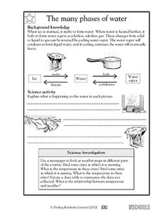 In this science worksheet, your child learns about the phases of water (ice, water, water vapor) and identifies what these phases look like and how they happen.