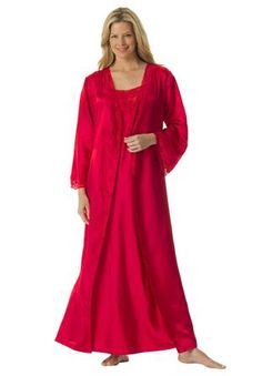 aca681d782569 Plus Size Long satin peignoir set Plus Size Nighties