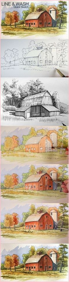 30 quick-painting-tutorials-occasional-painters line and wash. Watercolor Landscape, Watercolor And Ink, Landscape Paintings, Watercolor Paintings, Landscape Art, Landscapes, Watercolor Artists, Watercolour Tutorials, Watercolor Techniques