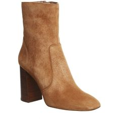 Office Janey High Cut Boots (£85) ❤ liked on Polyvore featuring shoes, boots, ankle booties, ankle boots, rust suede, women, suede boots, suede ankle boots, suede ankle bootie and stacked heel booties