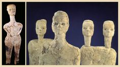 Some of the 32 clay figure statues from 'Ain Ghazal, Jordan, 6750 - 6570 BCE. Found in specially dug pits beneath the floors of houses, each is about 3 ft. tall and could stand up.