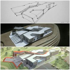 Concept of arch idea Architecture Concept Drawings, Modern Architecture, Science Gallery, Hospital Architecture, Interior Design Living Room, Design Trends, Deconstructivism, Building, Architectural Models