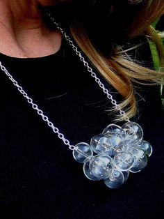 Glamorous Glass by Petra Glasova: Share my fascination with dreamy bubble glass jewellery. Clear glass bubble jewellery set containing a necklace, a bracelet and earrings. Glass Necklace, Glass Jewelry, Jewelry Sets, Jewellery, Types Of Earrings, Petra, Silver Color, Fascinator, Clear Glass