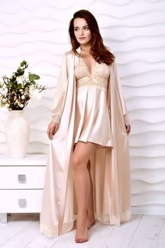 Beige bridal robe and peignoir set Bridal lingerie wedding night Kimono lace robe and nightgown Wedding robes for bride Wife Xmas gift ideas – Sueño de la boda Wedding Robe, Lace Bridal Robe, Bridal Robes, Wedding Night, Women's Lingerie Sets, Wedding Lingerie, Sleepwear Women, Pajamas Women, Peignoir