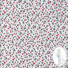 Tissu style liberty rouge Epan. Tissu au mètre : Tissus à thème par sylvette-mercerie