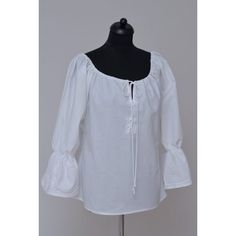 White shirt, Feminine blouse with lipstick. His neckline was drawn, bound. Its color is white with white decoration. White Decor, Feminine, Tunic Tops, Blouse, Long Sleeve, Sleeves, Shirts, Color, Dresses