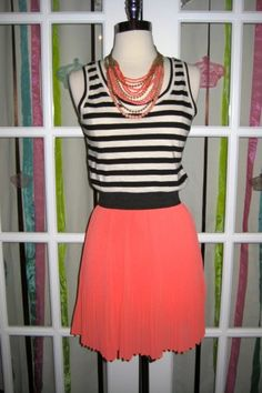 #Dress, #THML, #Black & #White #Stripes with #Coral Pleated Skirt  Stella & Dot Palamino Necklace