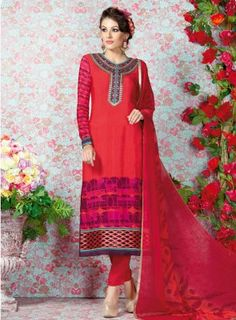 #Red #Printed #Straight #Churidar #Suit Features on french crape fabric top and bottom, printed top with embroidery on yoke and matching chiffon soft printed dupatta.