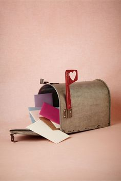 Love Letters Mailbox~ The ideal receptacle for heartfelt messages of congratulations. This decorative, antiqued metal mailbox, complete with festive flag, can hold up to 500 cards and envelopes. @BHLDN Weddings Weddings