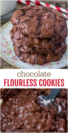 gluten free cookies Flourless Chocolate Cookies Are Fudgy, Chewy, Full Of Chocolate, And Naturally Gluten Free. They Taste Somewhere In Between A Cookie And A Brownie, And Are Perfect For Chocolate Lovers. Dessert Party, Oreo Dessert, Orange Dessert, Avocado Dessert, Keto Cookies, Cookies Et Biscuits, Brownie Cookies, No Sugar Cookies, Egg White Cookies
