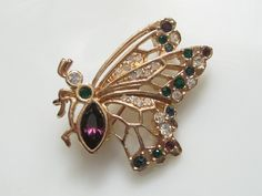 Signed Vintage Rhinestone Butterfly Insect Pin by terrysgotit