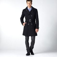 Double-Breasted Knit Trench Coat in 30% Wool, Cotton Lined on shopstyle.co.uk
