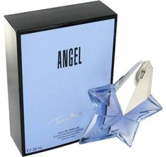 """""""Angel"""" by Thierry Mugler Perfume.  Claim your wings with a delicious, heavenly spritz of Angel perfume by Thierry Mugler. Brought to you by the popular French fashion designer Thierry Mugler, Angel was first bottled in 1992 and features an uplifting and spirited blend of sweet, floral scents. Angel perfume by Thierry Mugler features dreamy notes with a sweet coconut and flowery jasmine opening that drifts into a heart of yummy honey before a spicy finish of patchouli and bergamot."""