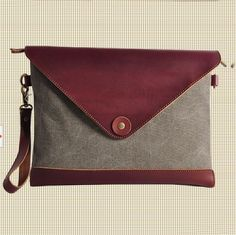 GRAY Cow leather envelope bag canvas IPAD bag Leather Briefcase /CANVAS Messenger bag / Laptop bag / Men's leather canvas Bag(8008) · Handma...