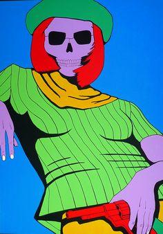 Salt and Pepper. Acrylic on canvas. 2012. #skull #superflat #bonnieandclyde #fayedunaway #arte #contemporaryart #moman