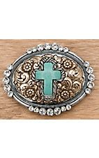 M Western Products® Silver and Gold with Turquoise Cross and Crystals Oval Buckle